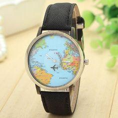 Newly Design Mini World Map Watch Men Women Gift Watches Sep11