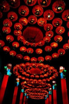 Ceiling of Red Chinese LAnterns