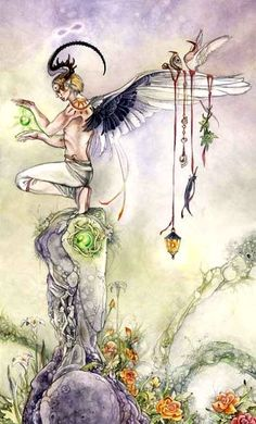 The Magician represents the power of the magician in a fairly standard way. Hanging from his wings are the signs of the 4 elements. The lantern, or fire for Wands. It looks like some kind of ring for water, and Cups. A feather for air, or Swords, and leaves for earth, or Pentacles.