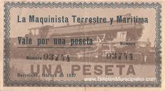 La maquinista Terrestre y Marítima. Una peseta Barcelona, Social Security, Cards, Socialism, Trains, Cover Pages, Map, Playing Cards, Maps