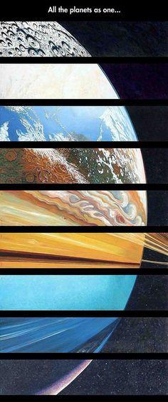 Mercurio, Venus, la Tierra, Marte, Júpiter, Saturno, Urano, Neptuno y Pluton :3