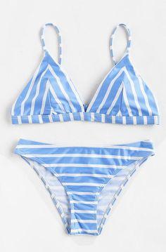 SheIn offers Block Striped Triangle Bikini Set & more to fit your fashionable needs. Bikini Babes, Bikini Sexy, Bikini Swimwear, Bikini Pics, Bandeau Swimsuit, Pretty Swimsuits, Bikini Triangle, Triangle Swimwear, Summer Bikinis