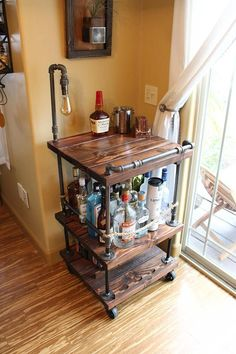 Rustikale Bar Warenkorb & Licht / Lampe bottle crafts with rope Rustic Bar Cart & Light / lamp - Industrial Pipe Wood Bar / Unique Bars / whiskey / wine cart / rollaway / rustic furniture / kitchen Island Lampe Industrial, Industrial Interiors, Industrial Lighting, Rustic Industrial, Rustic Wood, Industrial Bar Cart, Industrial Closet, Industrial Apartment, Industrial Wallpaper