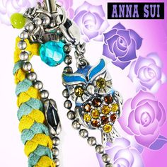 Anna sui ANNA SUI ☆ mobile strap accessories OWL OWL leather leather rhinestone Blue Blue Green Green yellow yellow Keychain Smartphone Smartphone brand summer travel gifts gifts