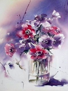 Cantate, Page Catherine Rey, Painters in watercolour, Artists Watercolor Artists, Watercolor Illustration, Watercolour Painting, Painting & Drawing, Watercolor Wallpaper, Watercolors, Art Floral, Floral Artwork, Abstract Flowers