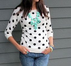love the bubble necklaces color with the black and white polka dots