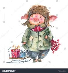 Christmas watercolor piggy, in a coat, a hat with gifts. Christmas Pictures, Christmas Art, Vintage Christmas, Pig Illustration, Christmas Illustration, Farm Animals For Kids, Pig Drawing, Pig Art, Christmas Cartoons