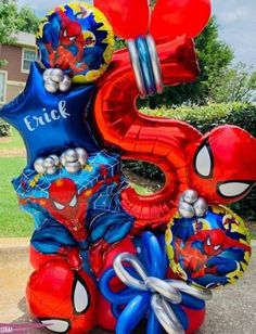 Balloon Columns, Balloon Arch, Balloon Garland, Balloon Ideas, Its A Boy Balloons, Bubble Balloons, Balloon Arrangements, Balloon Centerpieces, Spiderman Balloon