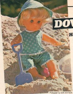 Down at the Seaside, pattern from Woman's Value. Doll Sewing Patterns, Vintage Dolls, Seaside, Print Patterns, First Love, Colour, Interior Design, Knitting, Outfits