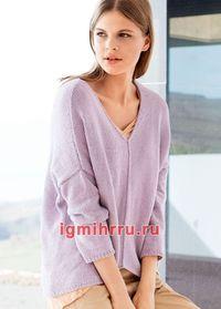 Лаконичный лиловый пуловер свободного фасона. Вязание спицами