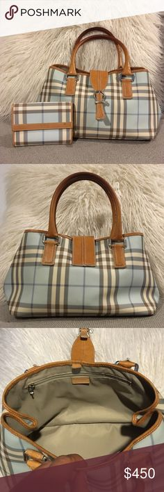"Blue Burberry ""Nova Check"" Medium Shoulder Bag The beautifully crafted bag has beige leather accents and silver hardware.   - Side snaps for expansion - Side zip interior pocket and side accessory pocket   Approx dimensions: 27 x 7 x 5.5  This bag has been gently used, light wear on the inside of the shoulder straps and some surface scuffs on hardware. Inside is perfect and exterior is in great condition.   The wallet pictured is NOT included but I'm happy to bundle, if interested!  Please…"