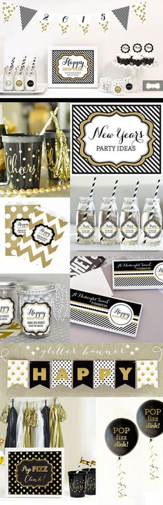 new years eve party ideas & decorations banner, sign, cupcake toppers and more for a black and gold new years eve party by Mod Party