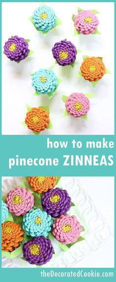 easy pinecone Zinneas -- pinecone crafts -- flower crafts -- centerpiece home DIY