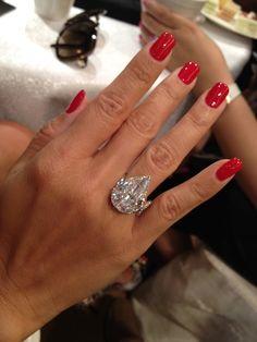A Rare Golconda Diamond Ring.....and really pretty red nails