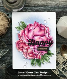 Susan Wymer Card Designs: Impression Old Is New: A Beautiful Hardy Blossom Impression Obsession Cards, Peonies Bouquet, Peony, Distress Oxide Ink, Copic Markers, Stampin Up, Card Making, Card Designs, Paper Crafts
