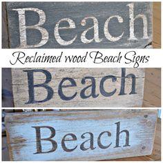 Beach signs using reclaimed wood www.homeroad.net