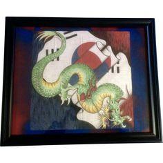 Vintage South Korean Dragon Flag Batik Painting Realistic Dragon, Korean Dragon, Art Painting, Batik, Painting, Art, Art Reference, Dragon, Vintage