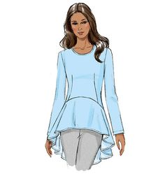 This Vogue Pattern tunic pattern for Spring 2015 features a high-low peplum with a graceful flare. Comes with different sleeve options. Sew V9084