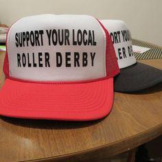Rokurface Support Roller Derby Skate Trucker Hat Red White Mesh Back | eBay. I want one!