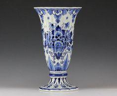 Dutch Trumpet Vase Delft Art Pottery Blue and White - Floral design