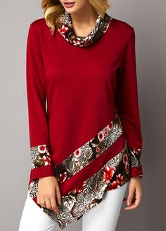 Asymmetric Hem Cowl Neck Floral Print Sweatshirt Women Clothes For Cheap, Collections, Styles Perfectly Fit You, Never Miss It! Vintage Rock T Shirts, Vintage Tops, Fancy Tops, Trendy Tops For Women, Printed Sweatshirts, Sweatshirts Online, Hooded Sweatshirts, Dress Patterns, Blouse Designs