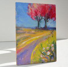 art, landscape painting, original painting, wall art, small landscape, 5 X 7, tree painting, pink tree, spring, redbud