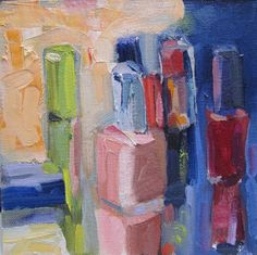 I am drawn to the shapes and colors of lipstick, perfume, and nail polish. The shapes of the containers are voluptuous and a rainbow of color. In this