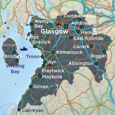 Map of Ayrshire main routes and towns