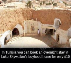 Tunisia's Luke Skywalker's boyhood home - WTF fun facts: HERE I COME!<<<If I ever happen to be in Tunisia, I am doing that Cool Places To Visit, Places To Travel, Travel Destinations, Dream Vacations, Vacation Spots, Dream Trips, Wtf Fun Facts, Random Facts, I Want To Travel