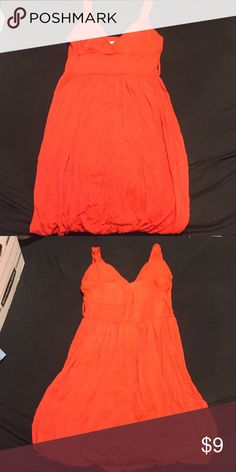 Bright orange dress Gathers at bottom around thighs, has belt loops to add a belt if desired Body Central Dresses