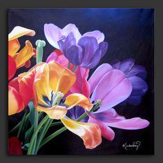 Dit schilderij hang ik op mijn muur, want ik hou van bloemen.