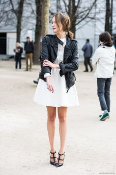 tough black leather with a girly white dress.