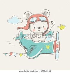 baby cartoon Cute bear flying on a plane cartoon hand drawn vector illustration. Can be used for t-shirt print, kids wear fashion design, baby shower invitation card. Cartoon Cartoon, Cartoon Plane, Scrapbooking Image, Illustration Book, Cartoon Mignon, Illustration Mignonne, Baby T Shirts, Baby Shower Invitation Cards, Cute Bears