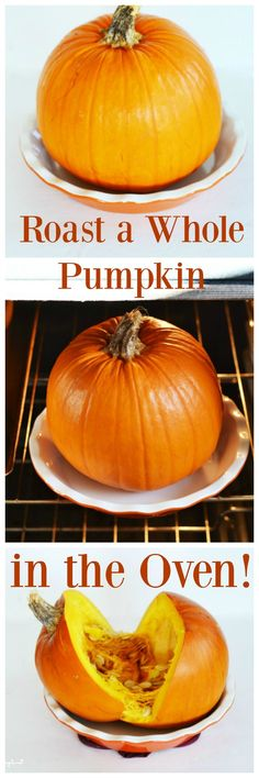 How to Roast a Whole Pumpkin in the Oven. Did you know you could roast an entire sugar pumpkin the oven? Check out how on the blog.