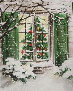Vintage Hallmark Christmas Card-Snowy Outside Window View of Tree Inside House