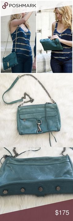 Rebecca Minkoff Very similar bag seen on Blake Lively. I believe this is the MAC clutch not 100% of the style. This does not have any studs on the handle, studs are at the bottom of bag. Silver, NOT gold hardware. This is in a beautiful soft pastel like teal color. I would say it's in good condition. Used a few times. Comes with dustbag. Please ask questions! Rebecca Minkoff Bags Crossbody Bags