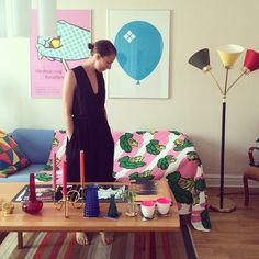 "Designer Ida Pettersson with the ""Anniken"" print she designed for IKEA 2014."