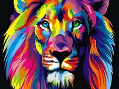 HD Print oil painting ART modern wall art on canvas the Color Lion - by Wahyu Romdhoni