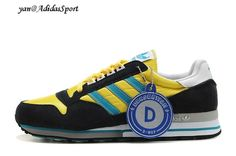 Adidas Originals ZX 500 Trainers Men Charcoal / Yellow / Deep Turquoise / White HOT SALE!HOT PRICE!