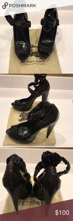 Burberry heels Eggplant patent leather heels, good condition Burberry Shoes Platforms