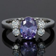 RB1120EBL 18KGP Oval Cut Tanzanite Cubic Zirconia Custom Jewelry Fashion Ring US $4.99