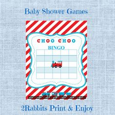 Train Themed Baby Shower - Bingo Blank Cards - Bingo Gift Baby Shower- Printable Baby Shower Game- Instant Digital Printable- Red & Blue #trainbabyshower #trainbabyshowergames #babyshowergiftbingo #diybabyshower #printablebabyshowergames