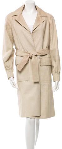 Oscar de la Renta Perforated Leather Coat w/ Tags