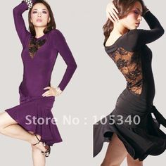 NEW Lace Latin Salsa Tango Ballroom Dance Dress Long Sleeve Dance Dress Black and Purple ColourA234-in Women from Apparel & Accessories on A...