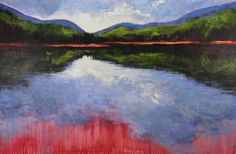 Holly Friesen, Inward Reflections, 48x72 acrylic on canvas, Lac Tremblant, Mont-Tremblant, QC (from Arabella Canadian Landscape Competition)