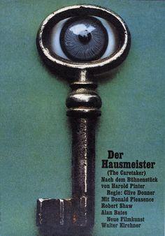 Hans Hillmann, film poster Der Hausmeister / The Caretaker, Neue Filmkunst Walter Kirchner. My own library. Max Bill, Sean Adams, Polish Posters, Moholy Nagy, Sound & Vision, Exhibition Poster, Typography Prints, Amazing Art, Original Artwork