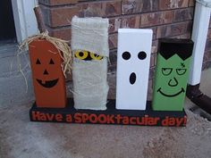 Halloween craft idea. Just Plain 2x4's so cute!!