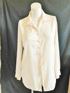 a5cf8ad3497de2 CHRISTIE & JILL Womens Blouse Top Shirt Long Sleeves Ivory FLORAL IMPRINT  LARGE #ChristieJill #ButtonDownBlouse #CasualCareer