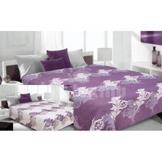 Prehoz na fialovej farby s krémovými listami Comforters, Blanket, Bed, Furniture, Home Decor, Creature Comforts, Quilts, Decoration Home, Stream Bed
