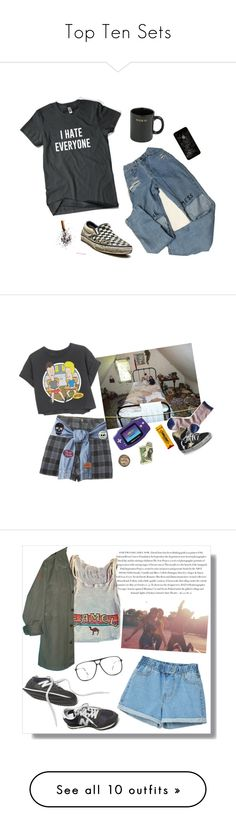 """""""Top Ten Sets"""" by elvish-bae ❤ liked on Polyvore featuring HUF, vintage, women's clothing, women, female, woman, misses, juniors, Topshop and Madewell"""